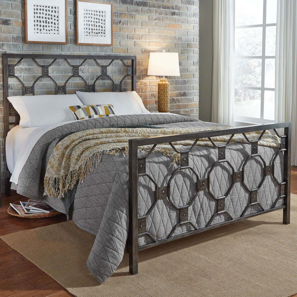 Metal Bed Headboards Fashion Bed Group Baxter Heritage Silver California King Metal Bed With Geometric Octagonal Design