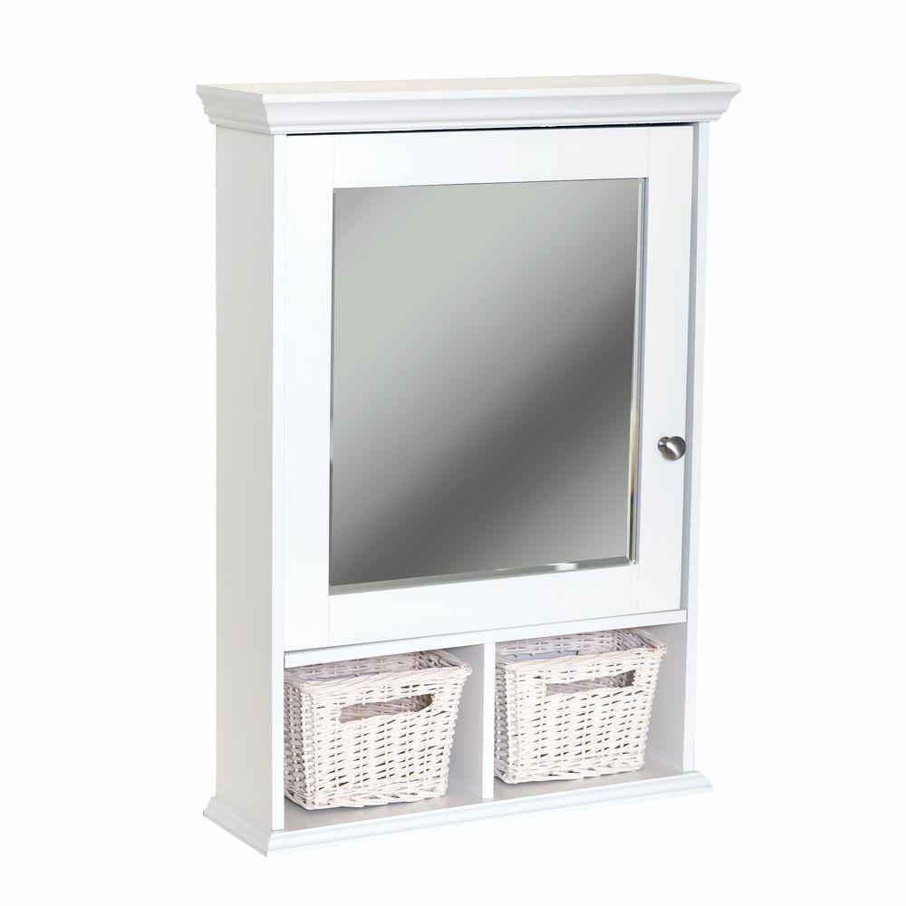 Medicine Cabinet Mirrors Zenith 21 In X 29 In Wood Surface Mount Medicine Cabinet With Baskets In White With Beveled Mirror