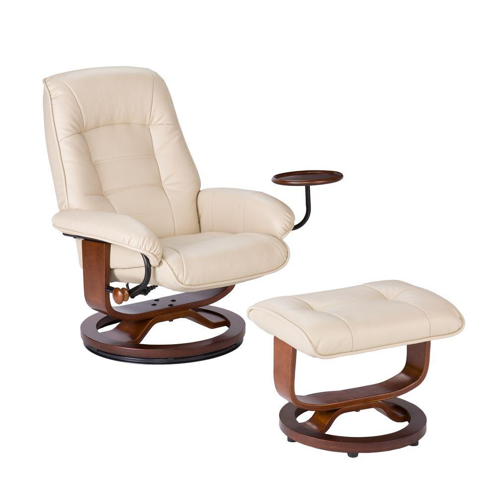 Leather Recliner Chair With Ottoman Southern Enterprises Taupe Leather Reclining Chair With Ottoman
