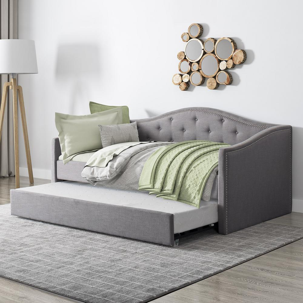 Single Day Bed Corliving Fairfield Grey Tufted Fabric Trundle Twin/single
