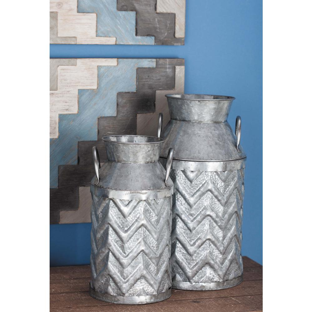Decorative Milk Urn Farmhouse Ridged Chevron Patterned Metallic Gray Metal Milk Jug Set Of 3
