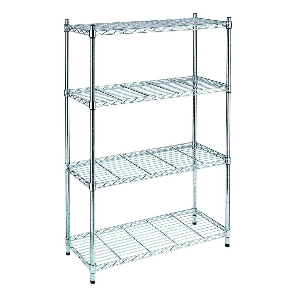 Metal Shelving Hdx 54 In H X 36 In W X 14 In D 4 Shelf Wire Unit In Chrome