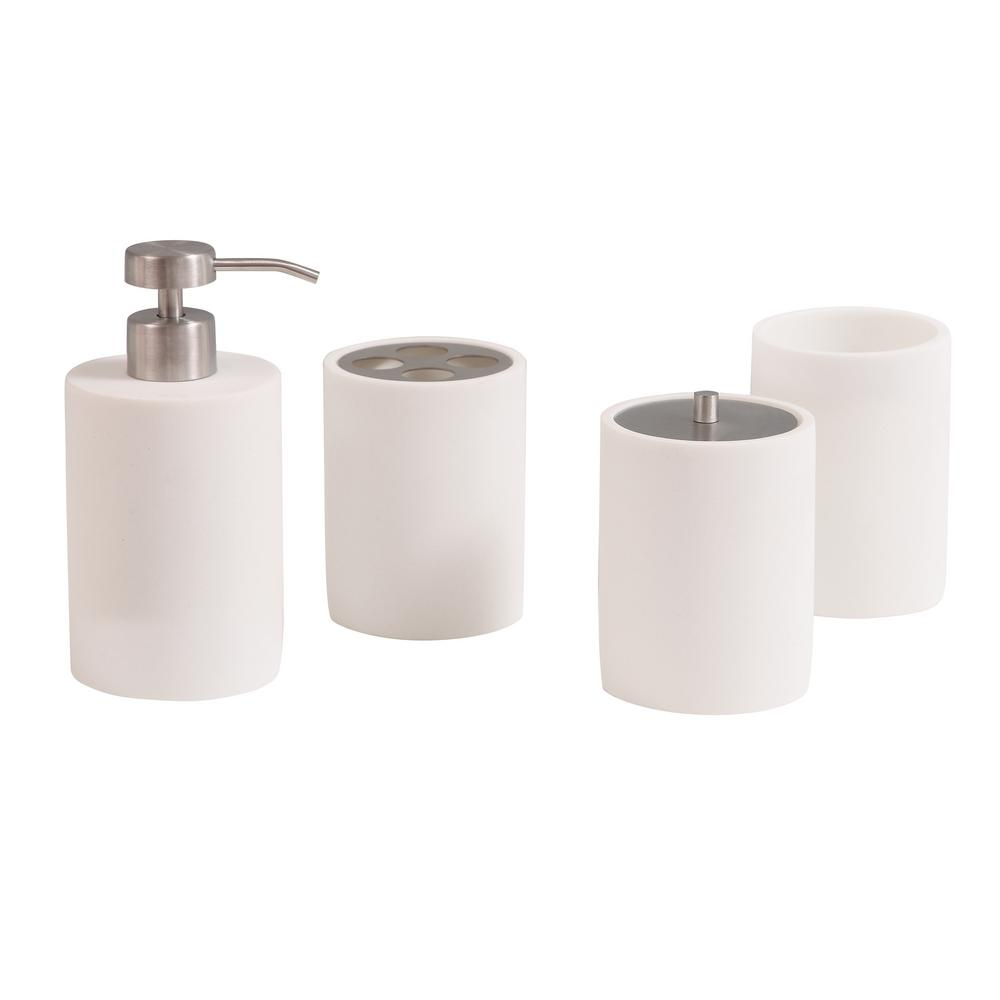 Bathroom Accessories Avanity Pippa 4 Piece Bath Accessories Set In Matte White
