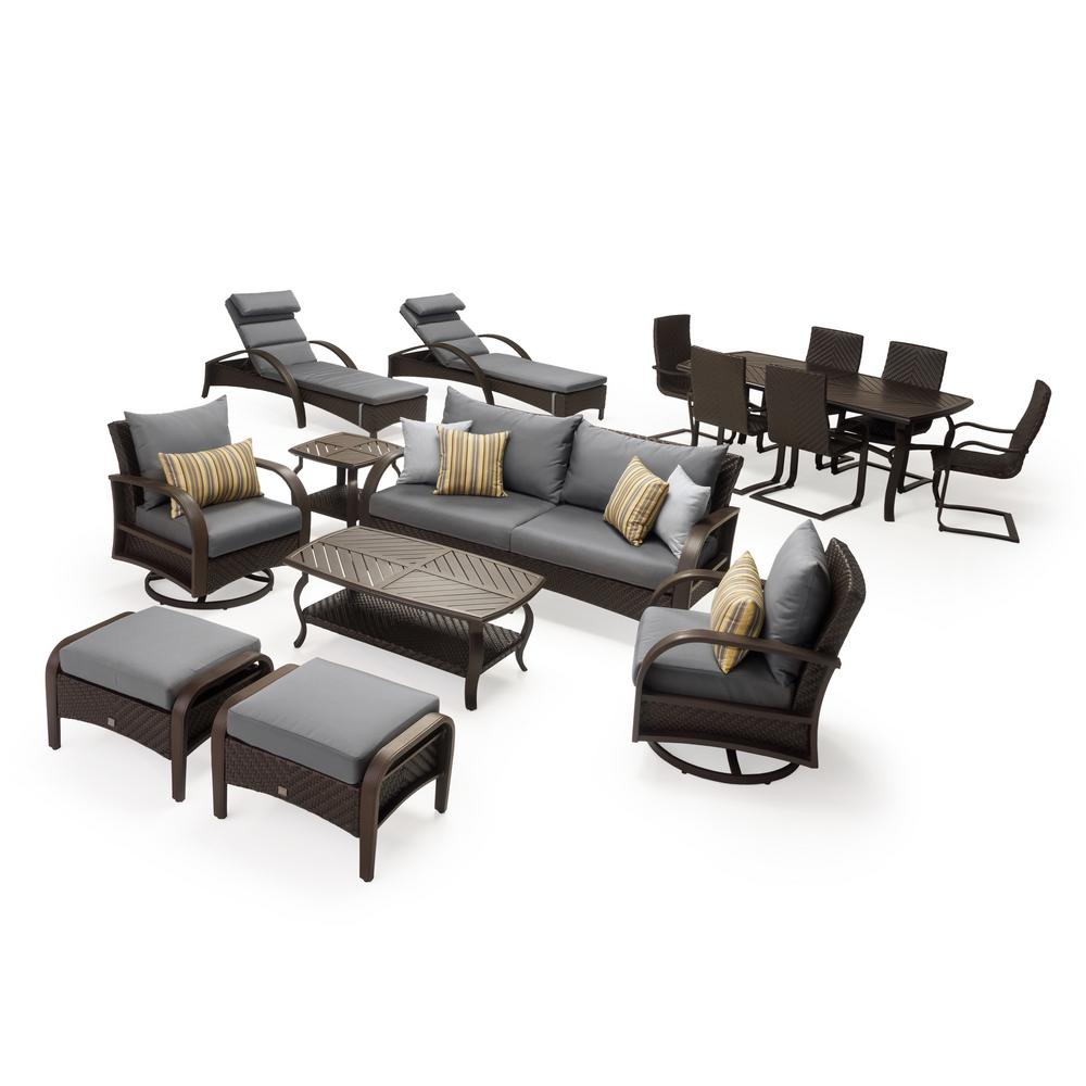 Baptist 6 Piece Rattan Sofa Set With Cushions Rst Brands Barcelo Estate 16 Piece Wicker Patio Conversation Set With Sunbrella Charcoal Grey Cushions
