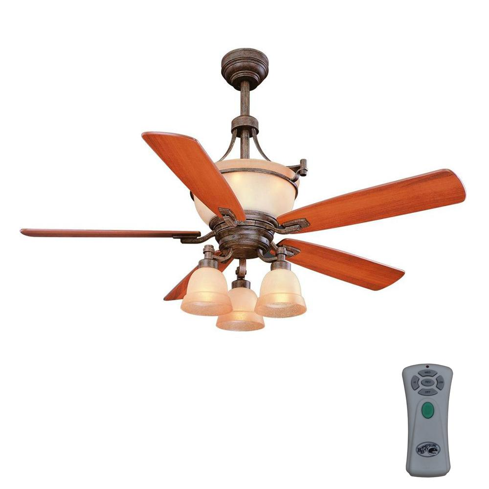 Double Fan Ceiling Fan With Light Hampton Bay Rock Creek 52 In Indoor Iron Oxide Ceiling Fan With Light Kit And Remote Control