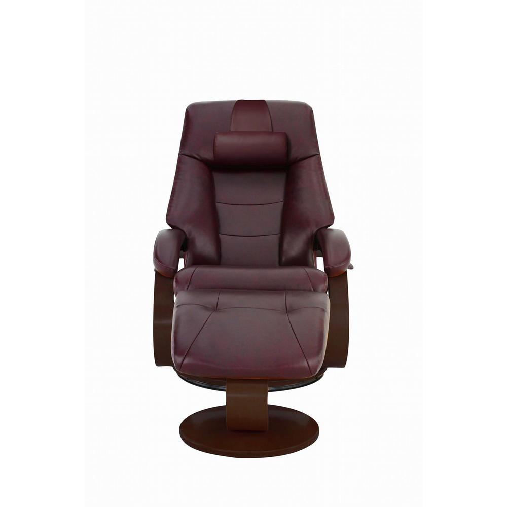 Recliner Pillow Oslo Collection Merlot Top Grain Leather Recliner With Ottoman And Cervical Pillow