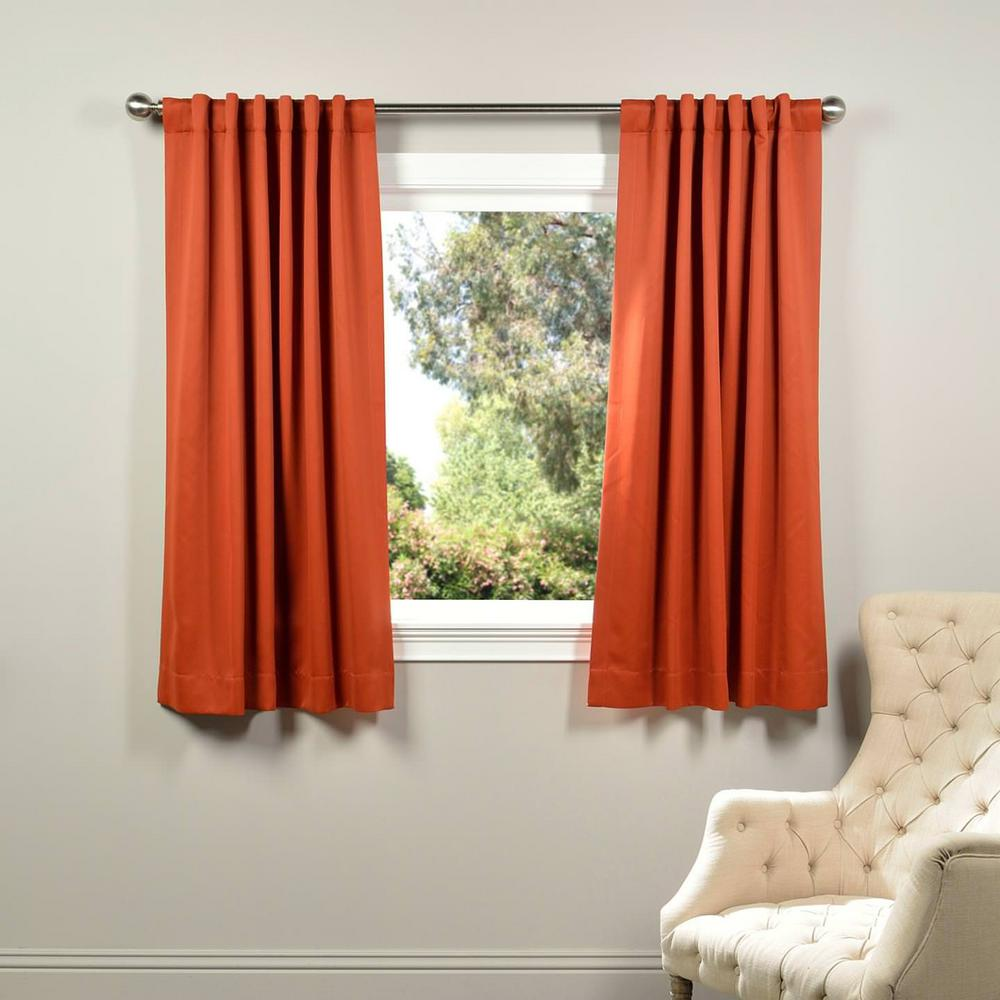 Orange Curtain Panels Exclusive Fabrics Furnishings Semi Opaque Blaze Orange Blackout Curtain 50 In W X 63 In L Panel
