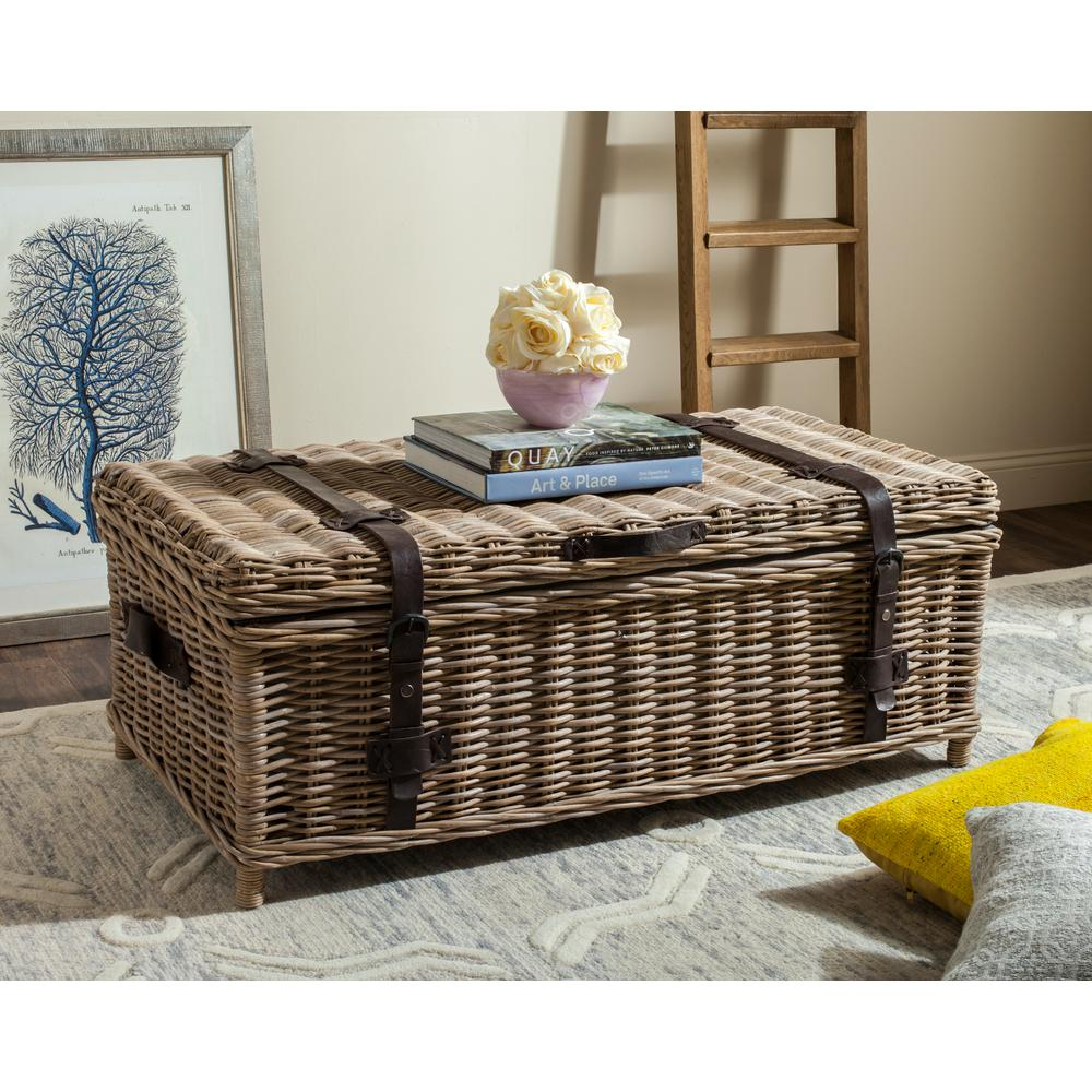 Rattan Table Safavieh Navarro Rattan Gray Coffee Table Trunk