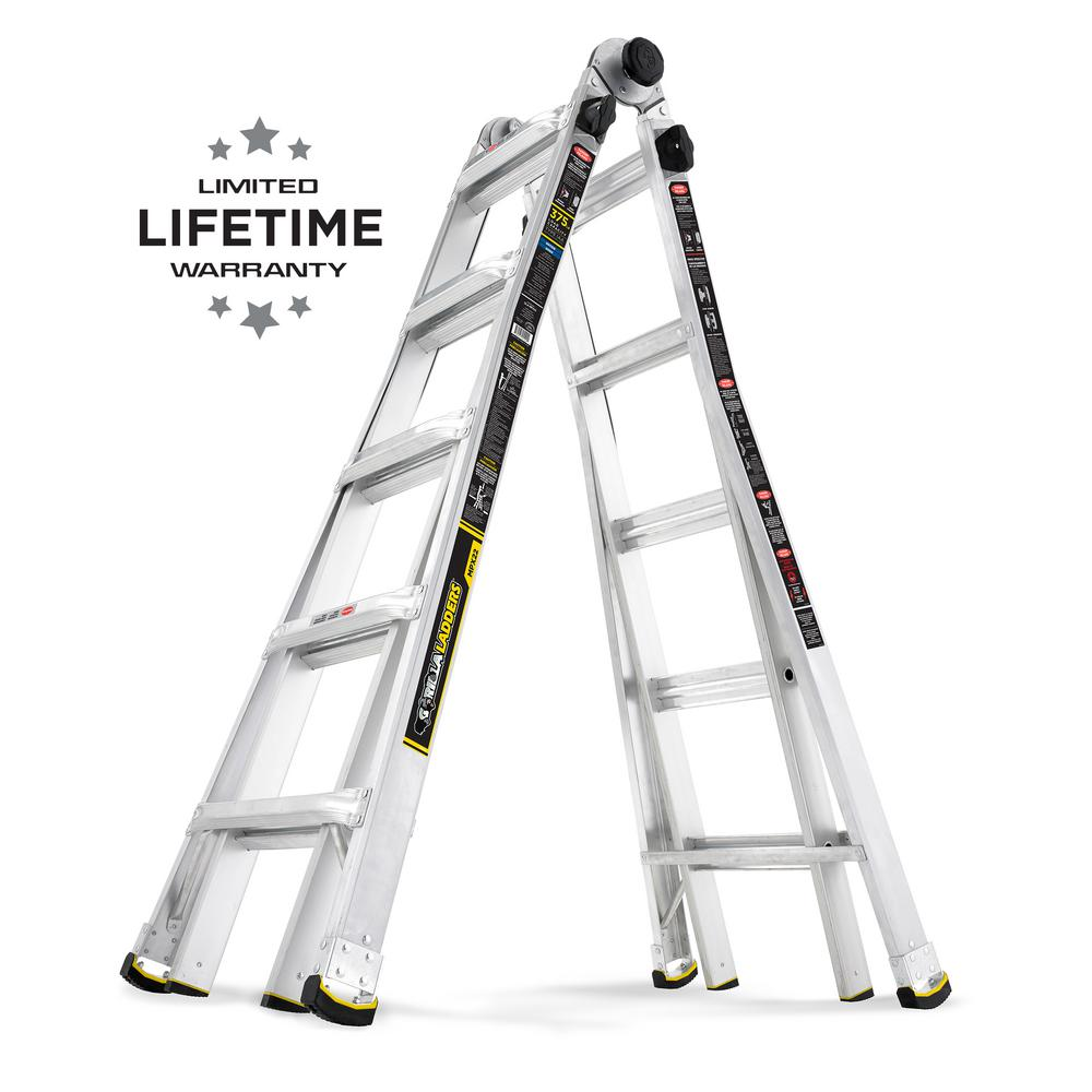 20' Ladder Home Depot Gorilla Ladders 22 Ft Reach Mpx Aluminum Multi Position Ladder With 375 Lb Load Capacity Type Iaa Duty Rating
