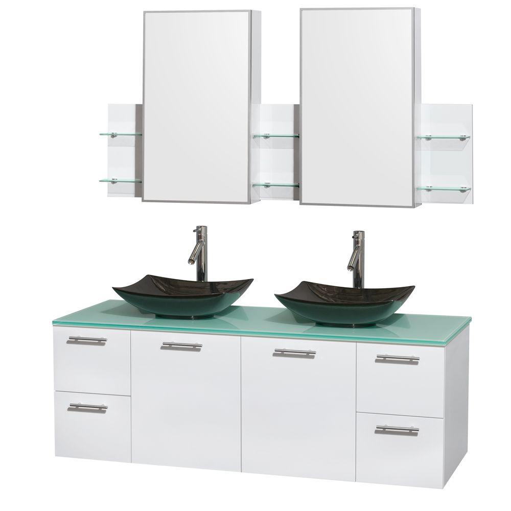 Wall Mount Double Vanity Wyndham Collection Amare 60 In Double Vanity In Glossy White With Glass Vanity Top In Green Granite Sinks And Medicine Cabinet