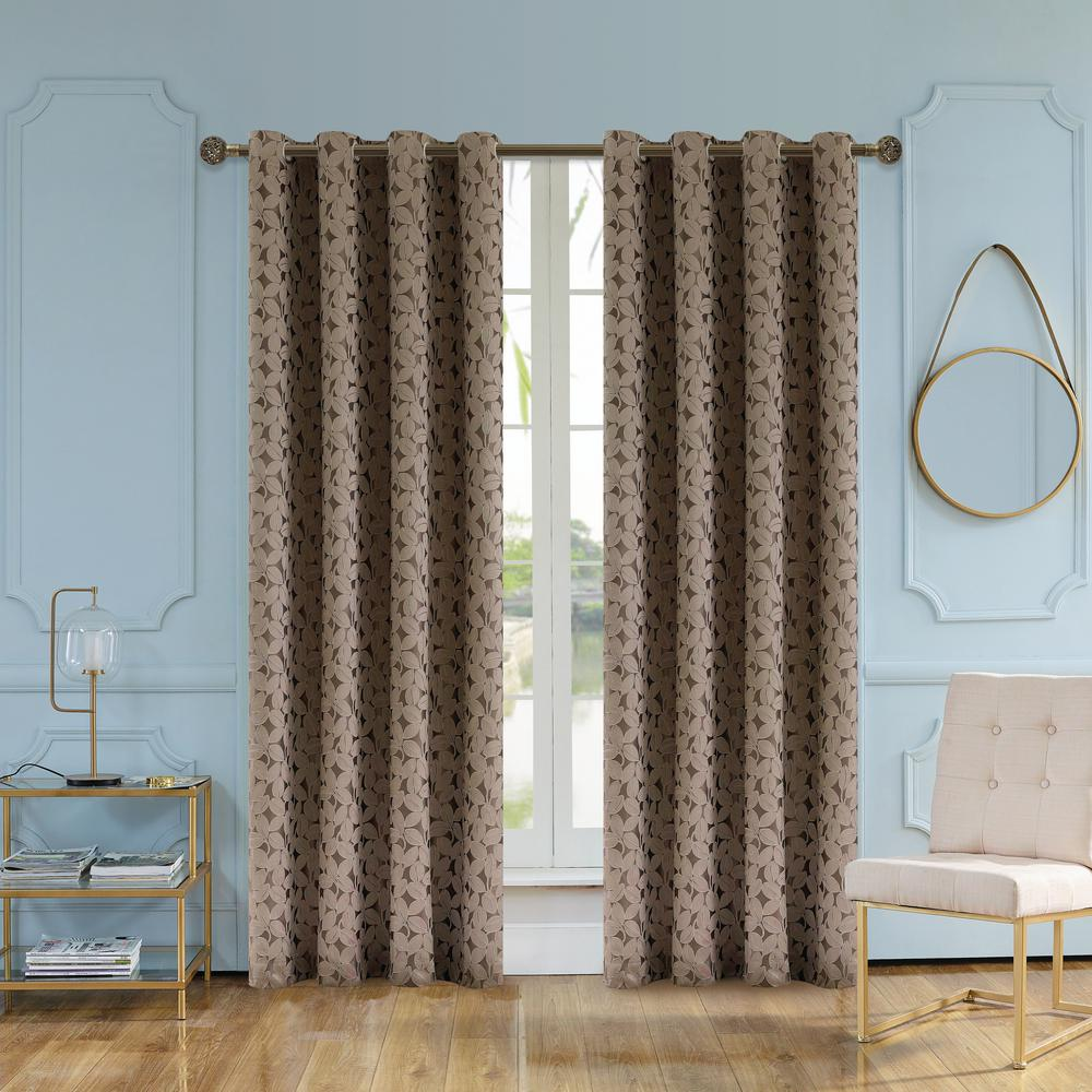 102 Inch Curtains Simone Walnut Jacquard Leaf Polyester Curtain 102 In L X 54 In W