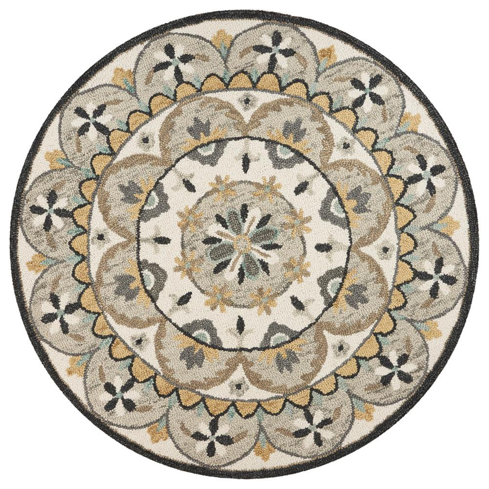 Decor Oriental Chic Lr Resources Dazzle Ivory Gray 6 Ft X 6 Ft Oriental Flowers Indoor Area Rug