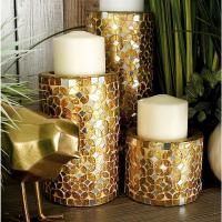 Black and Gold Iron Tapered Round Candle Holders with Fan ...