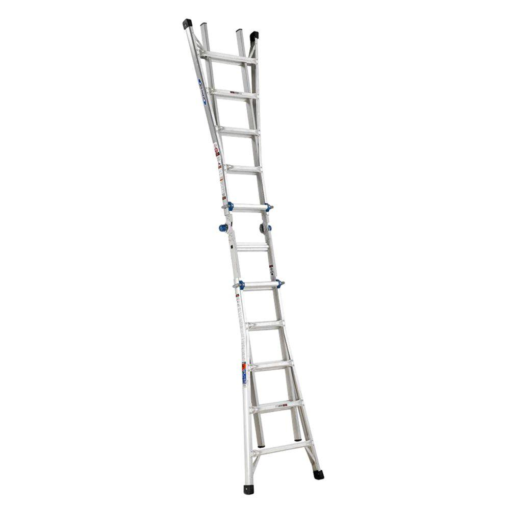 20' Ladder Home Depot Werner 22 Ft Reach Aluminum Telescoping Multi Position Ladder With 300 Lb Load Capacity Type Ia Duty Rating