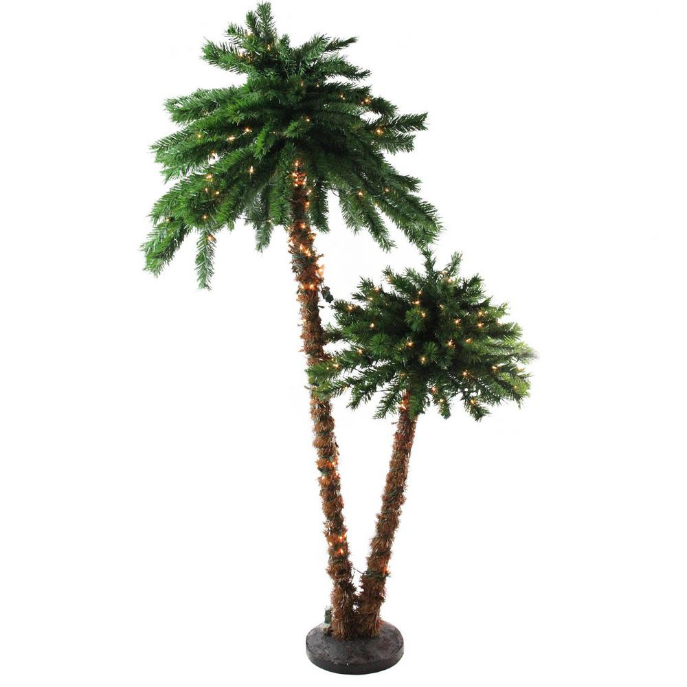 Home Depot Palm Trees Northlight 6 Ft Pre Lit Tropical Palm Tree Artificial Christmas Tree And Clear Lights