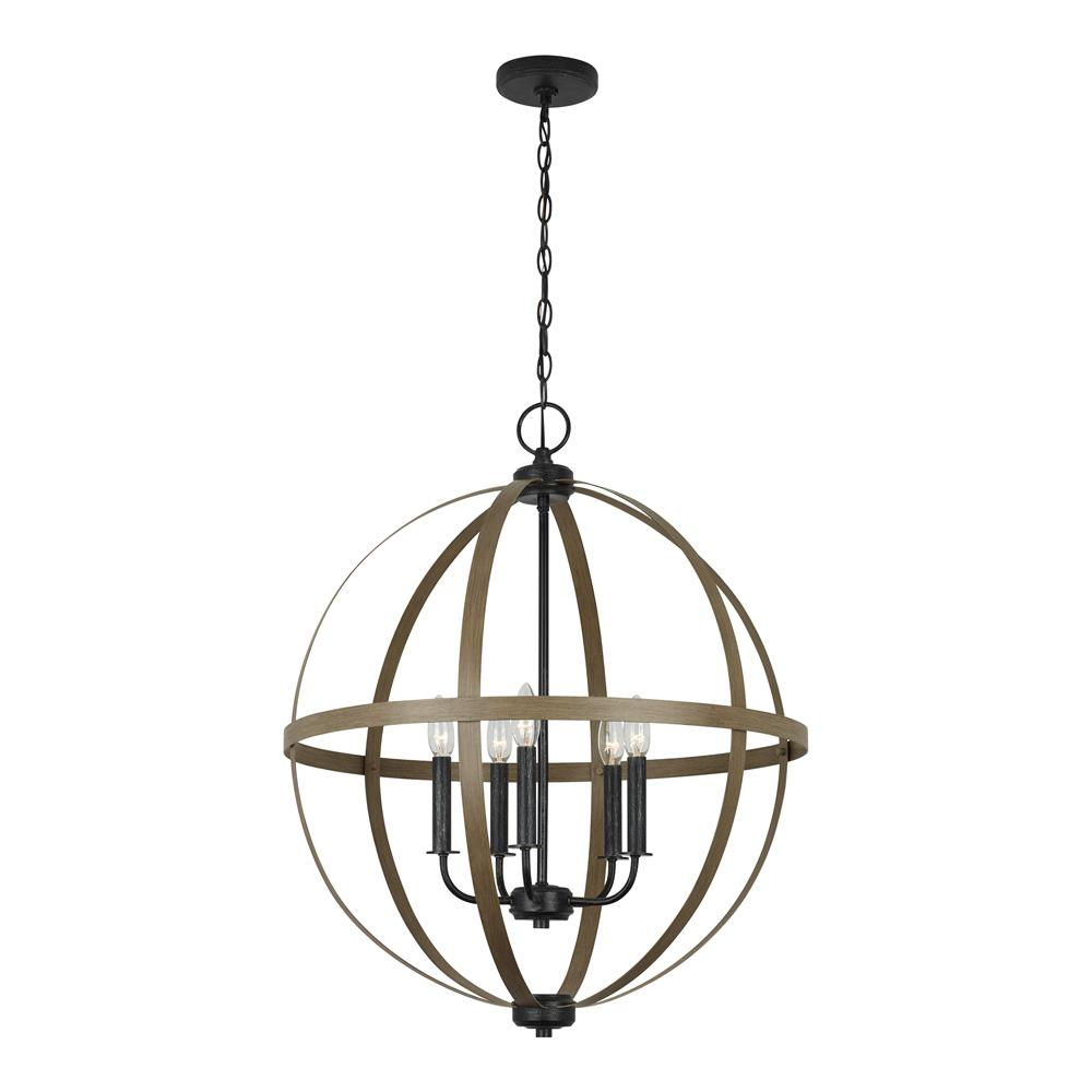 Chandelier Height 10 Foot Ceiling Sea Gull Lighting Calhoun 24 In 5 Light Weathered Gray Orb Chandelier With Distressed Oak