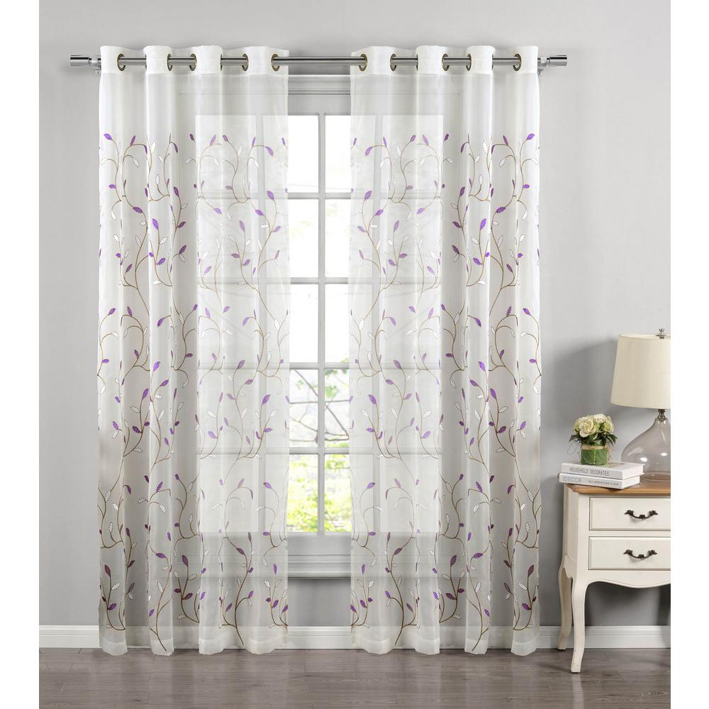 Lavender Sheer Curtains Window Elements Sheer Wavy Leaves Embroidered Sheer Lilac Grommet Extra Wide Curtain Panel 54 In W X 84 In L