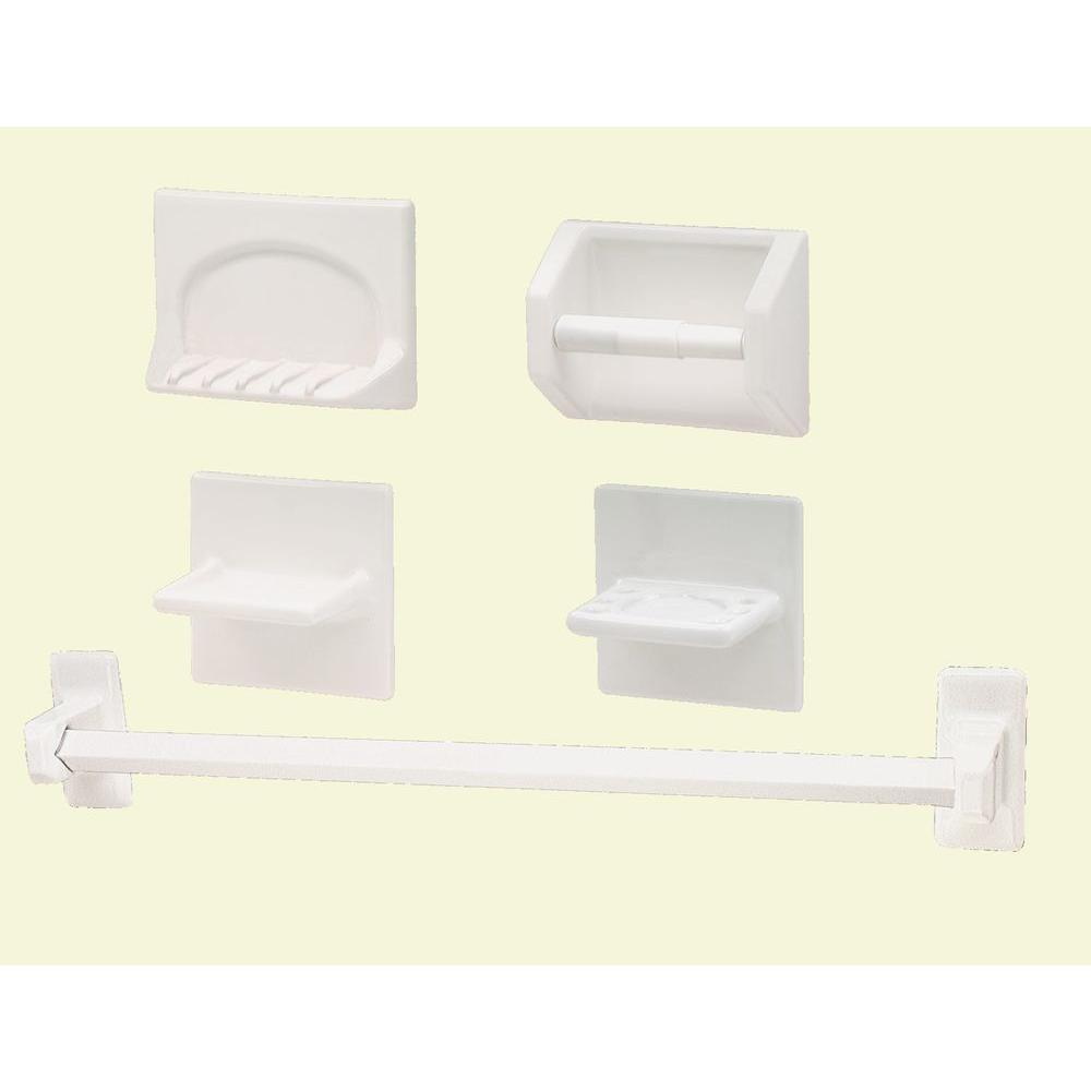 Bathroom Accessories Lenape White Ceramic Bath Accessory 5 Piece Set
