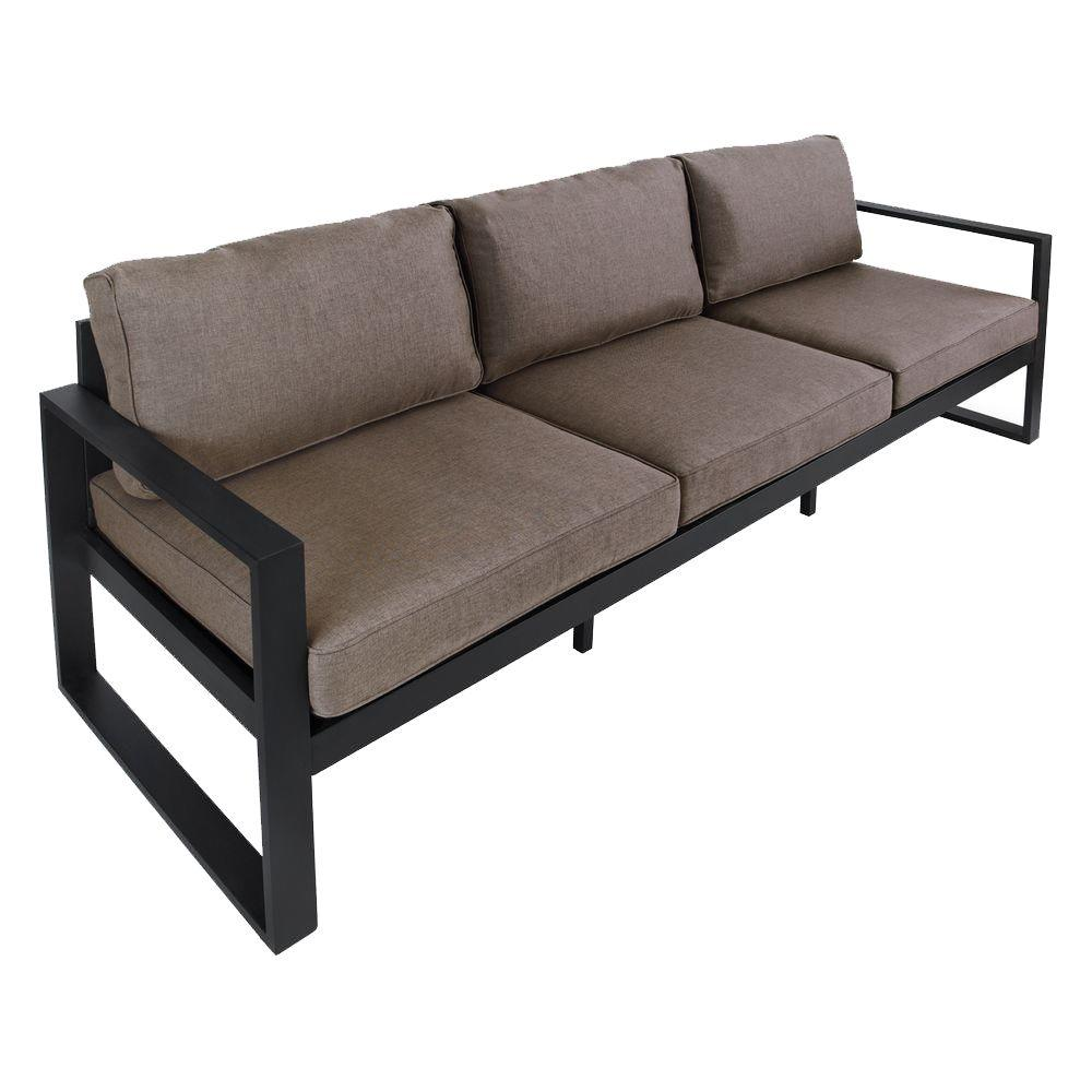 Outdoor Sofa Real Flame Baltic 82 In Black Aluminum All Weather Casual Outdoor Patio Sofa With Gray Cushions