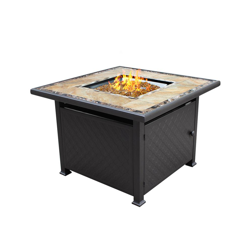 Home Depot Fire Pit 40 In X 25 In Square Marble Tile Top Propane Fire Pit