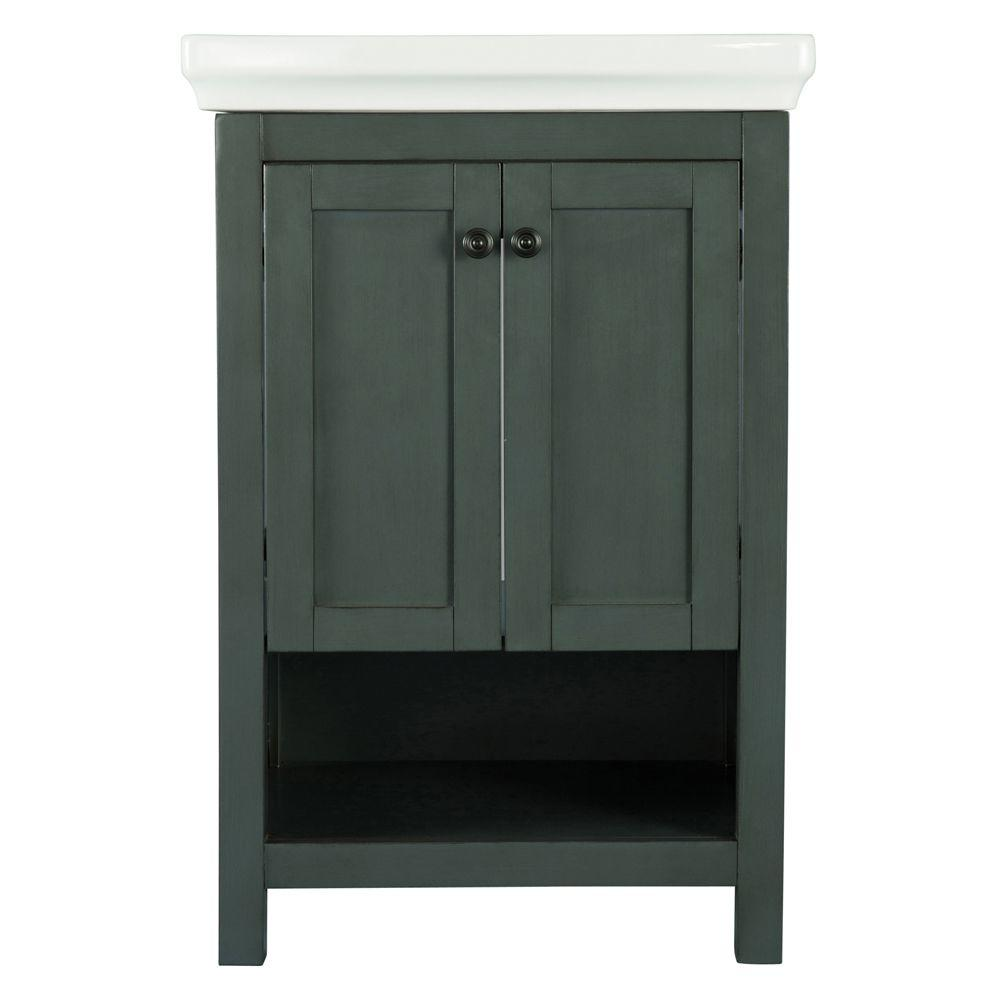 Small Bathroom Vanity With Sink Home Decorators Collection Hanley 23 3 4 In W X 18 In D Bath Vanity In Charcoal Grey With Porcelain Vanity Top In White