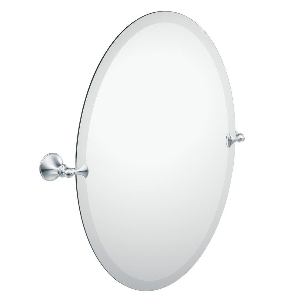 Bathroom Mirror Brushed Nickel Moen Glenshire 26 In X 22 In Frameless Pivoting Wall Mirror In Chrome
