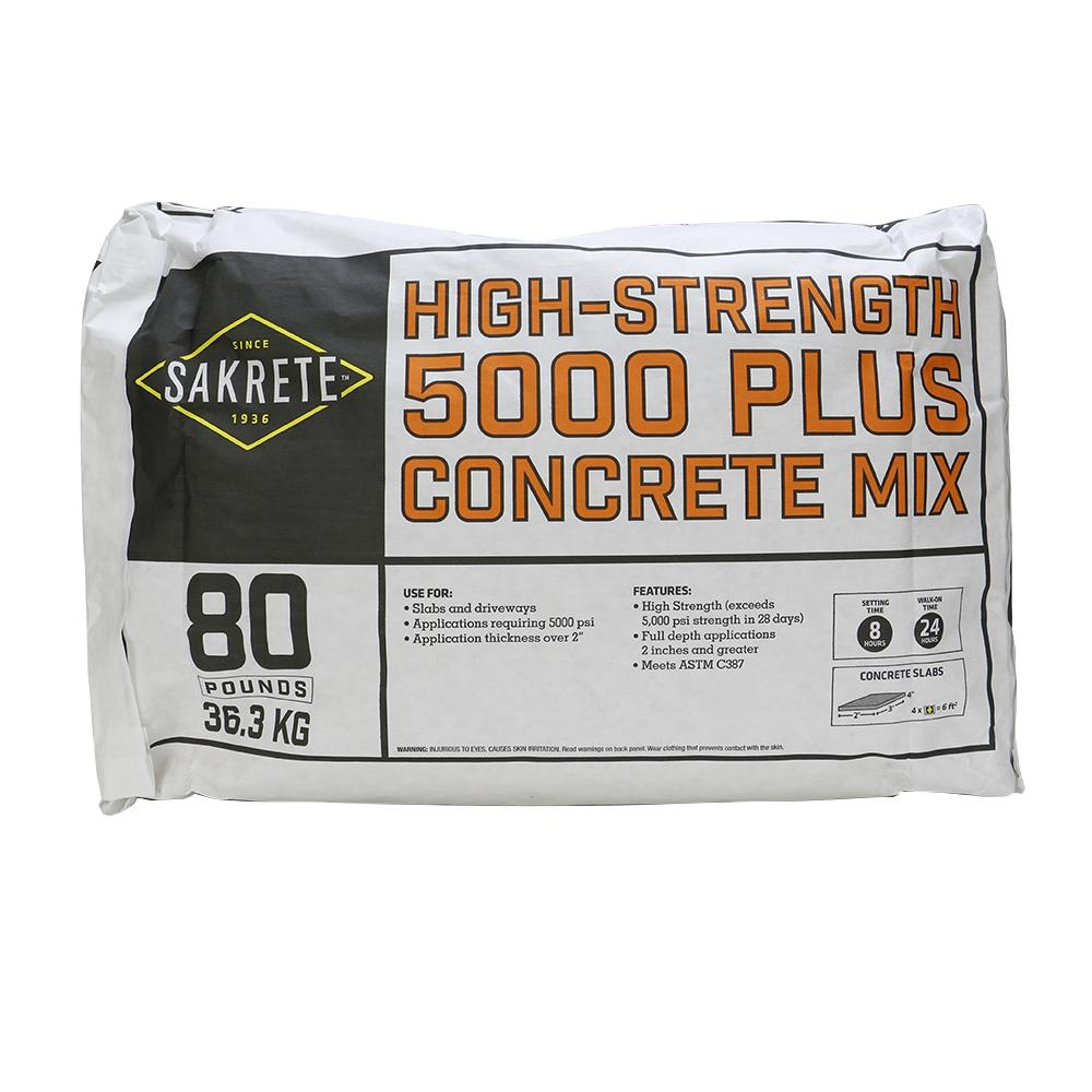 Sakrete 5000 Plus 80 Lb Concrete Mix 65200370 The Home Depot