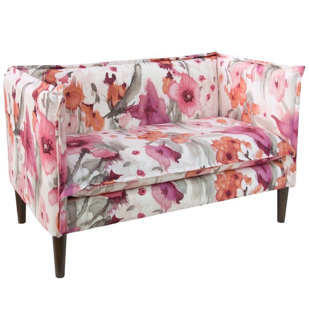 Velvet Sofa Wear And Tear French Seam Belissa Blush Settee 4606blsbls The Home Depot