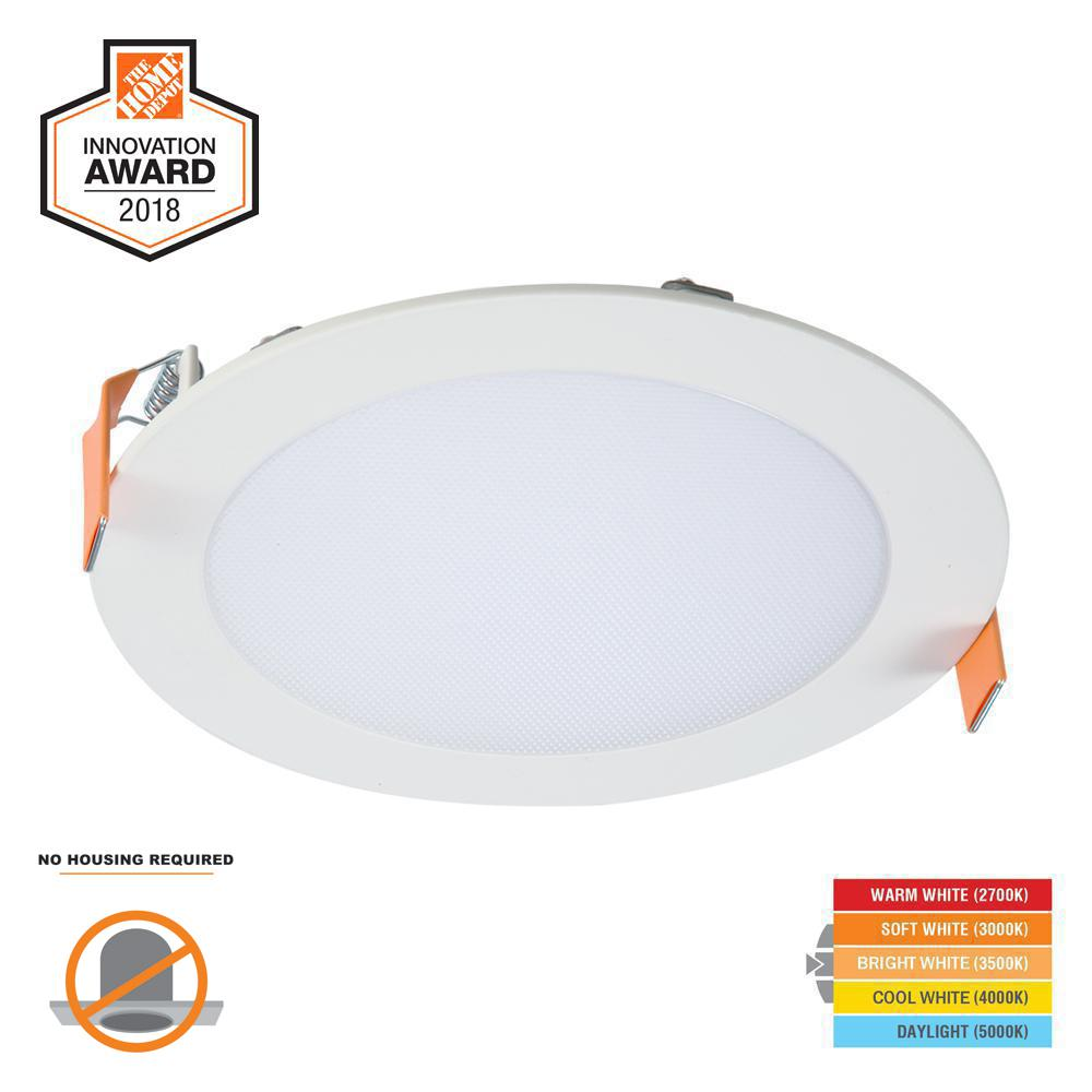 Led Lighting Prices Halo Hlb 6 In White Round Integrated Led Recessed Light Direct Mount Kit With Selectable Cct 2700k 5000k No Can Needed