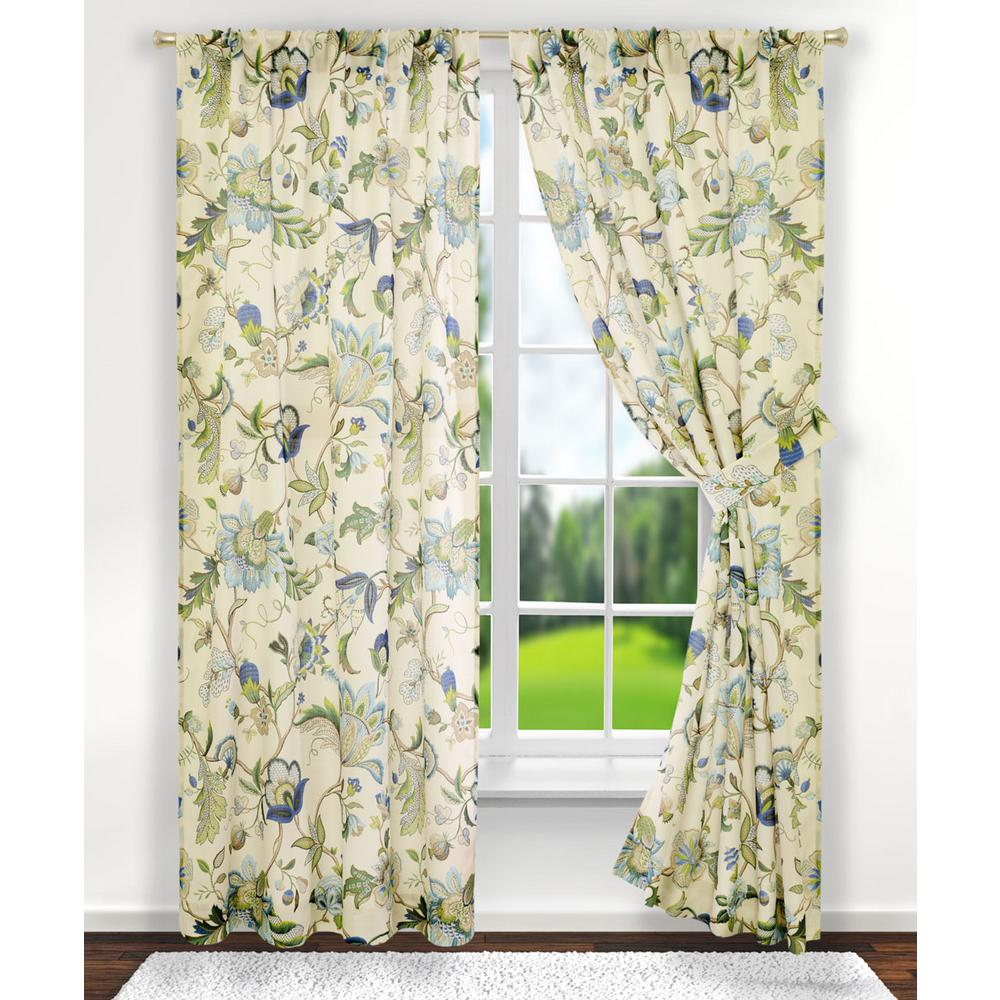 Curtains For A Blue Room Brissac 70 In W X 63 In L Polyester Tailored Pair Curtains With Tiebacks In Blue