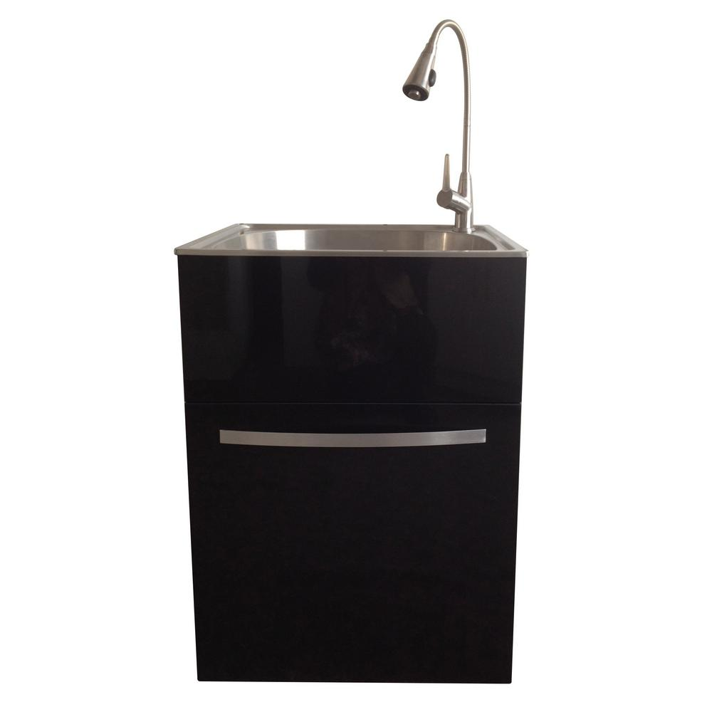 Garage Utility Sink All In One 24 2 In X 21 3 In X 33 8 In Stainless Steel Utility Sink And Large Black Drawer Cabinet