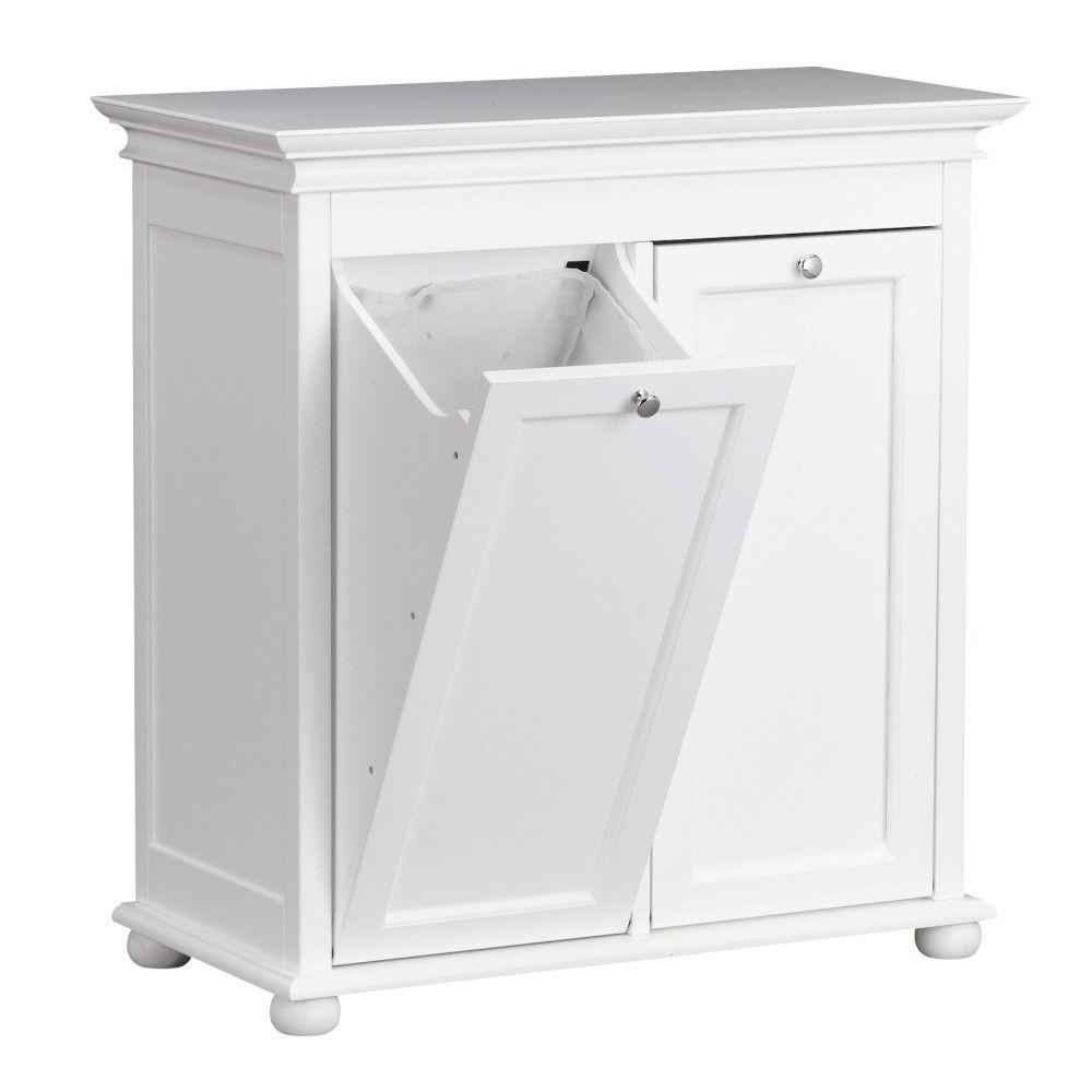 Laundry Trash Cans Hampton Harbor 26 In Double Tilt Out Hamper In White