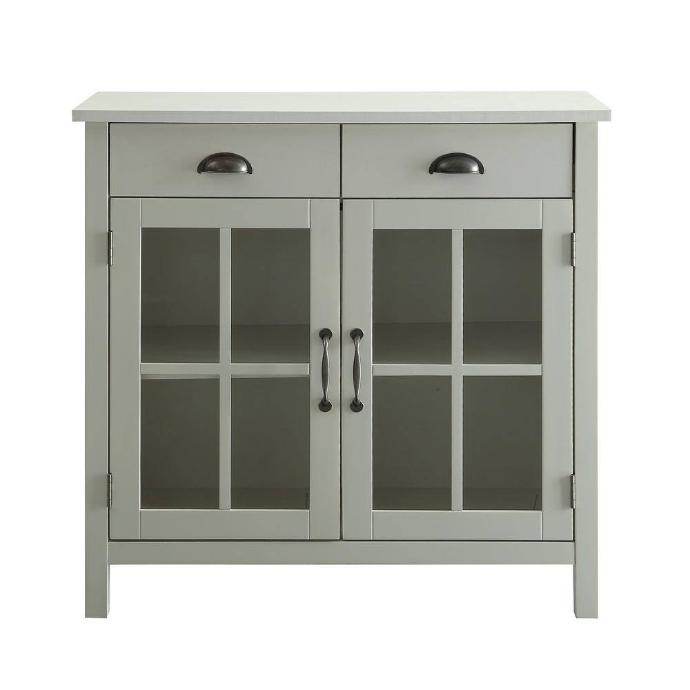 Cupboard Drawers Usl Olivia White Accent Cabinet 2 Glass Doors And 2 Drawers