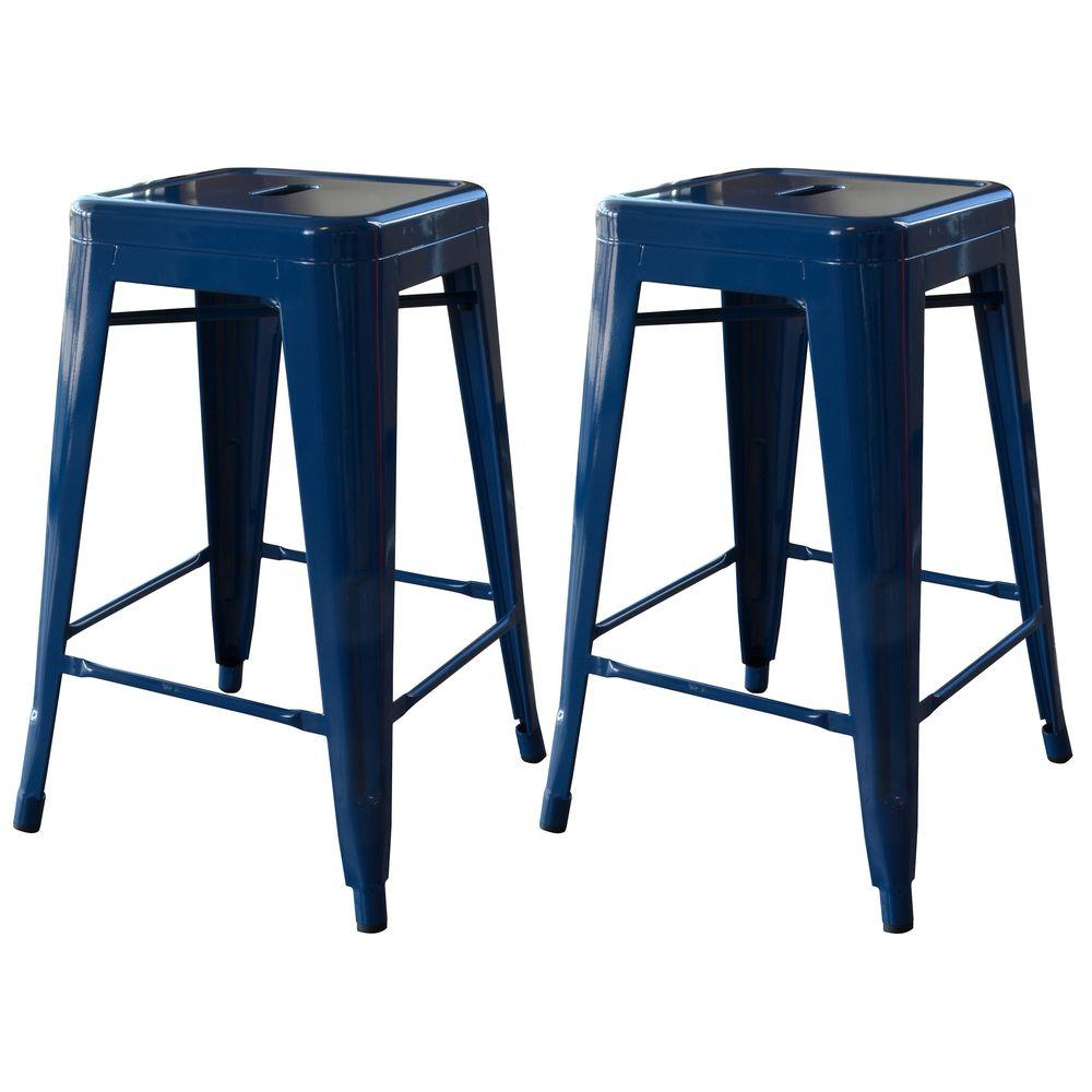 Metal Stools Loft Style 24 In Stackable Metal Bar Stool In Gold Set Of 2