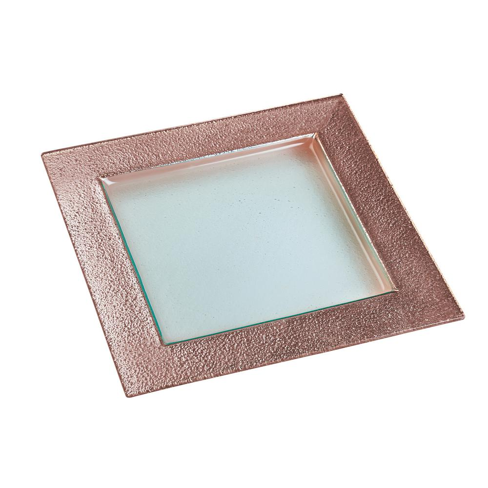 Gold Serving Tray 13 In Studio Rose Gold Glass Square Serving Platter