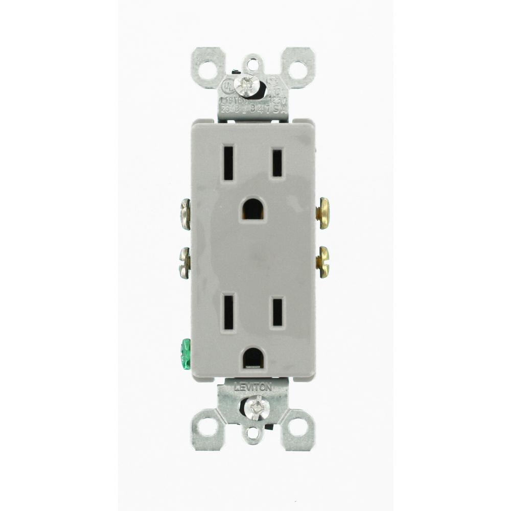 Contemporary Electrical Outlets Leviton Decora 15 Amp Residential Grade Self Grounding Duplex Outlet Gray