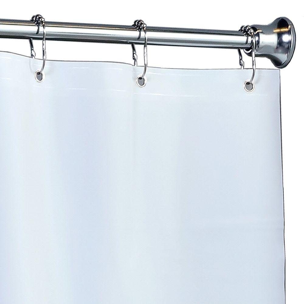 82 Shower Curtain Slipx Solutions 82 In X 74 In Mildew Resistant Extra Wide Peva Shower Liner With Microban In White
