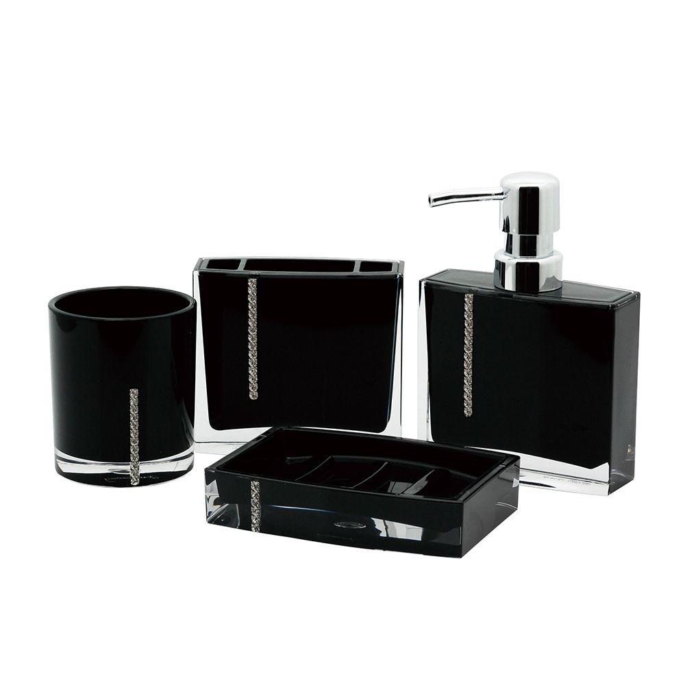 Bathroom Accessories Kingston Brass Crystal 4 Piece Bath Accessory Set In Black
