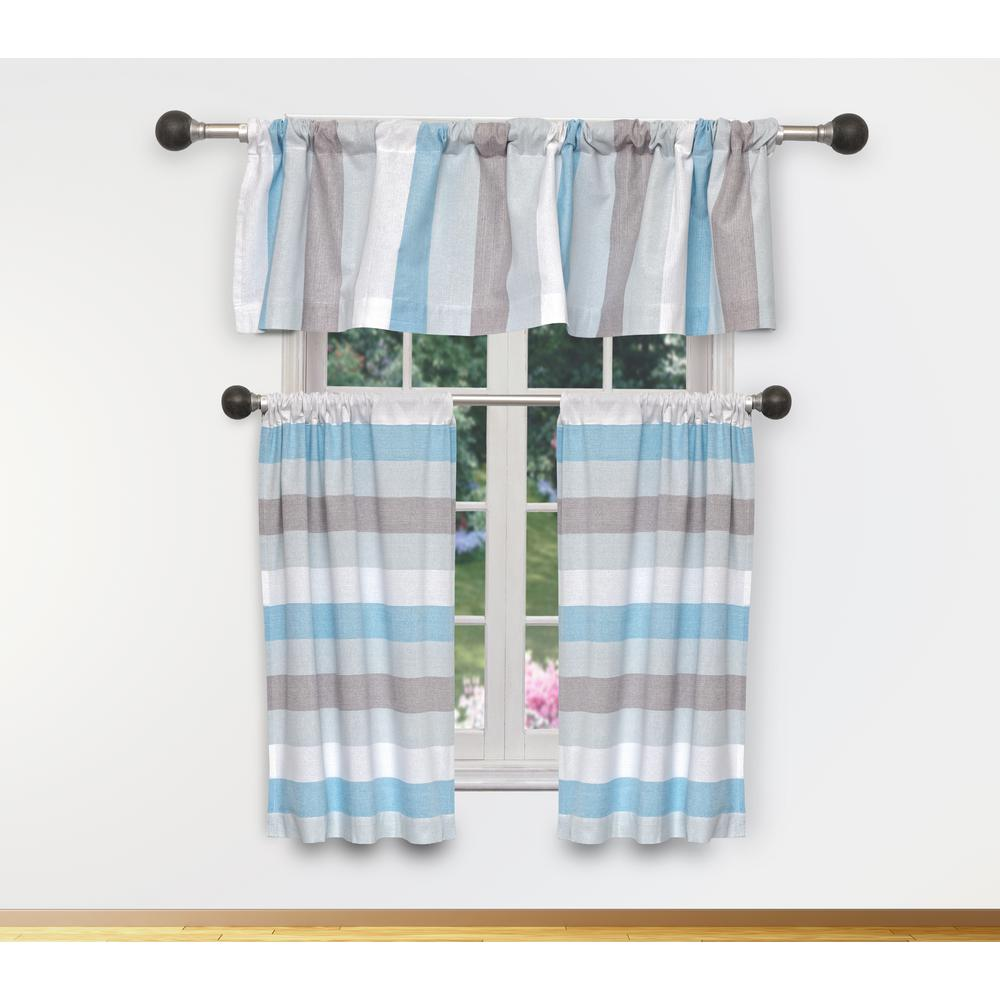 Patterns For Kitchen Curtains And Valances Duck River Helga Kitchen Valance In Sky Blue 15 In W X 58 In L 3 Piece
