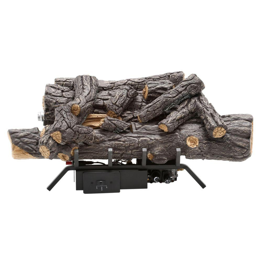 Gas Log Starters For Fireplace Savannah Oak 18 In Vent Free Natural Gas Fireplace Logs With Remote