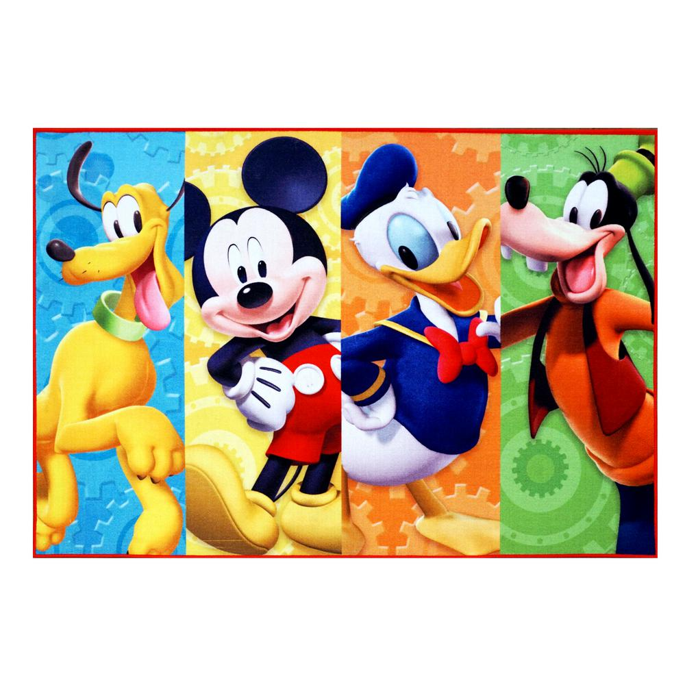 Disney Mickey Disney Mickey Mouse Multi Color 5 Ft X 7 Ft Clubhouse Juvenile Area Rug