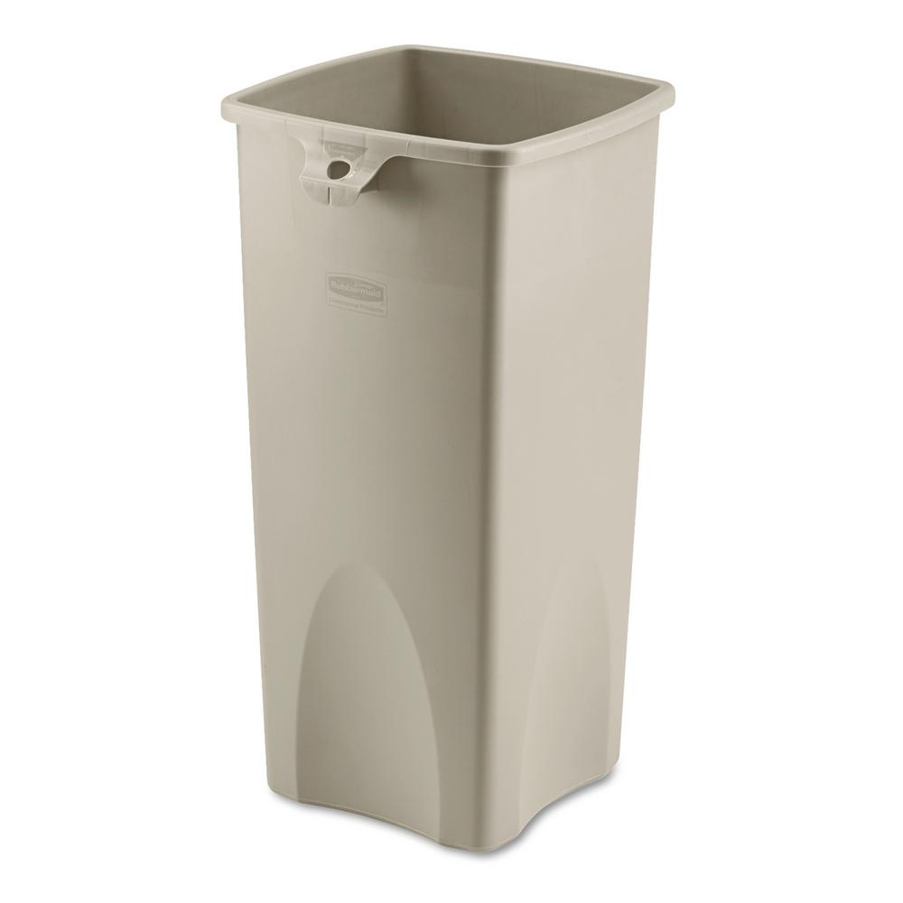 Laundry Trash Cans Rubbermaid Commercial Products Untouchable 23 Gal Beige Square Trash Can