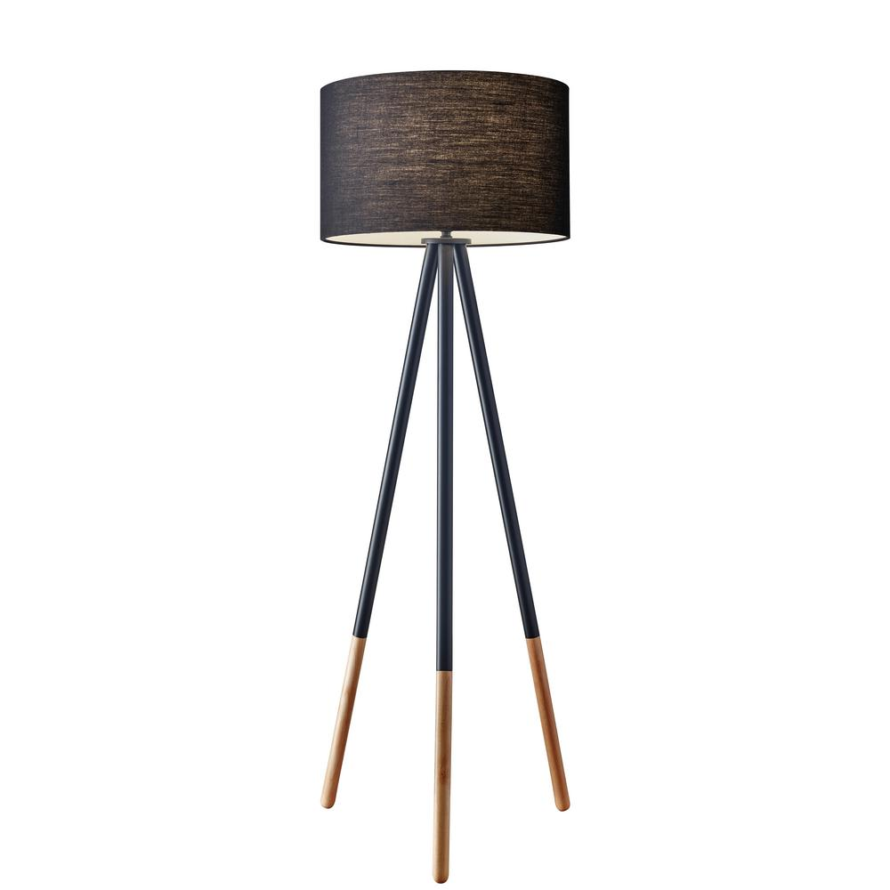 Stehleuchte Tripod Adesso Louise 60 In. Black Tripod Floor Lamp-6285-01 - The