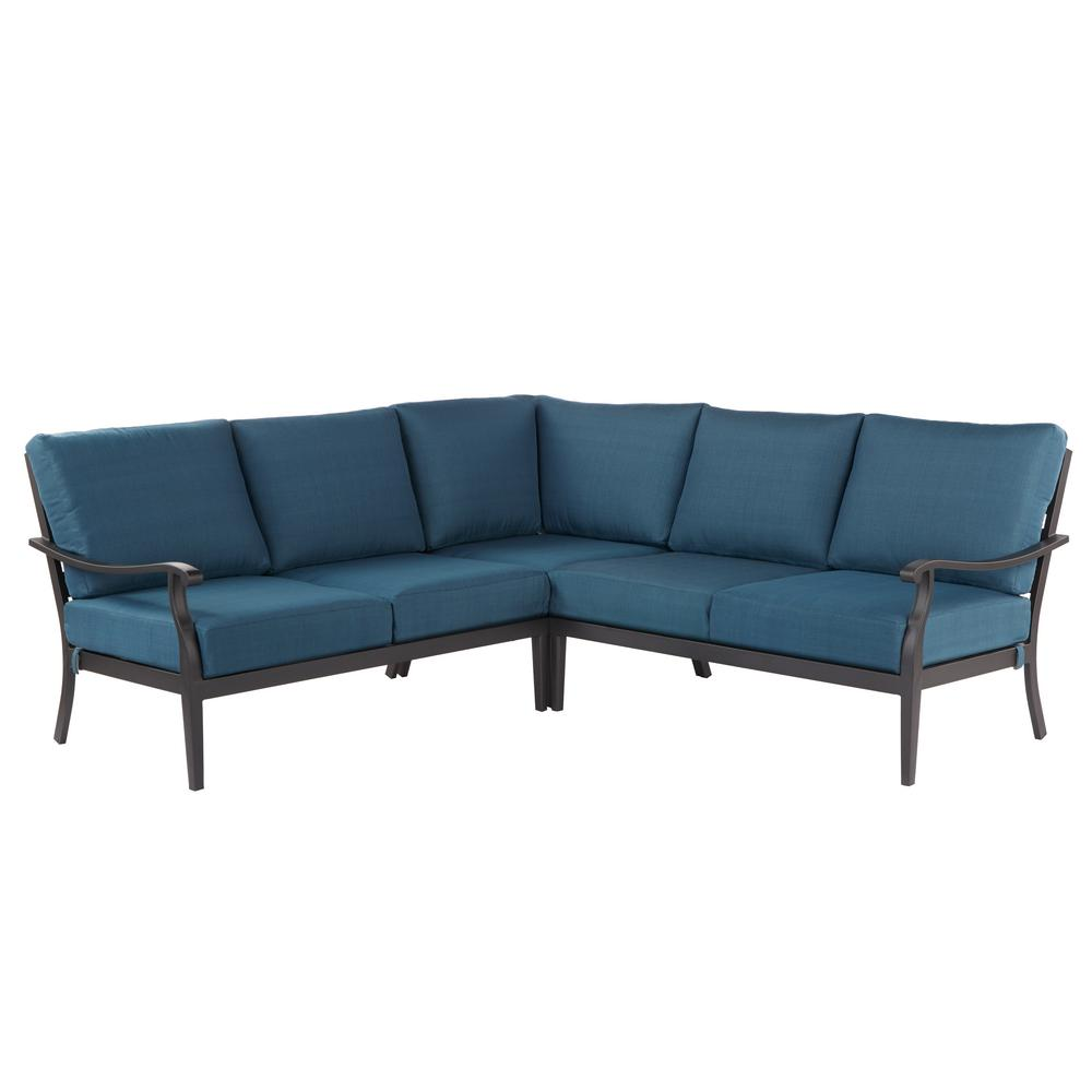 House Of Fraser Sofa Steal Hampton Bay Riley 3-piece Metal Outdoor Sectional Set With