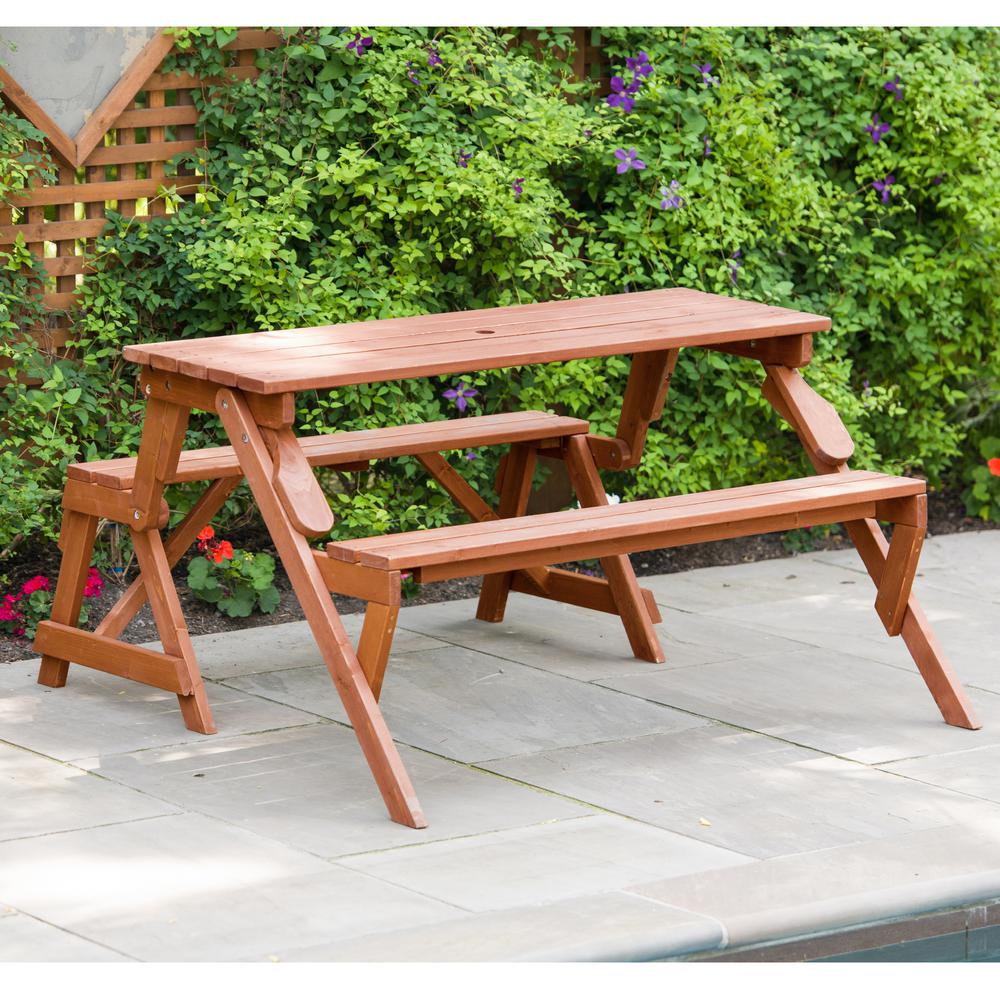Outdoor Living Northside Leisure Season 55 In X 58 In X 30 In Cedar Folding Picnic Patio Table And Bench