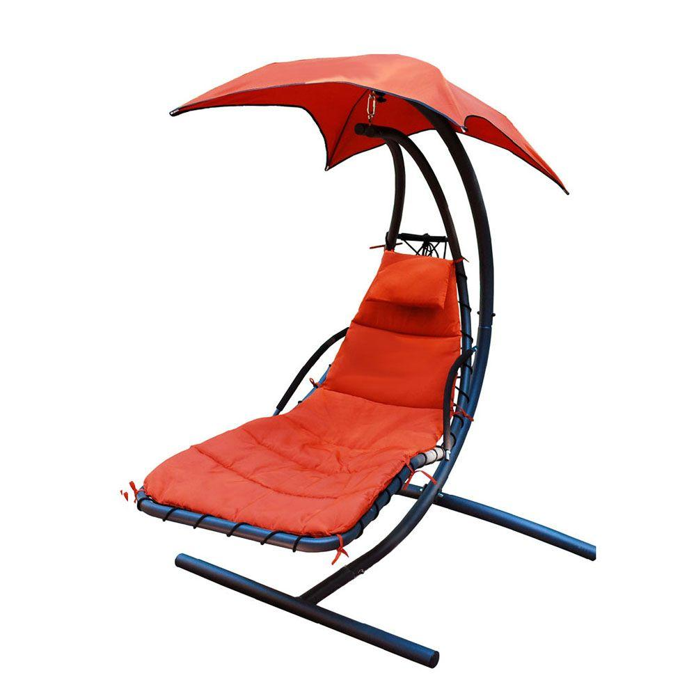 Hanging Outdoor Chairs Algoma 78 In L X 55 In D X 78 In H Polyester Hanging Chaise Lounge Hammock With Stand