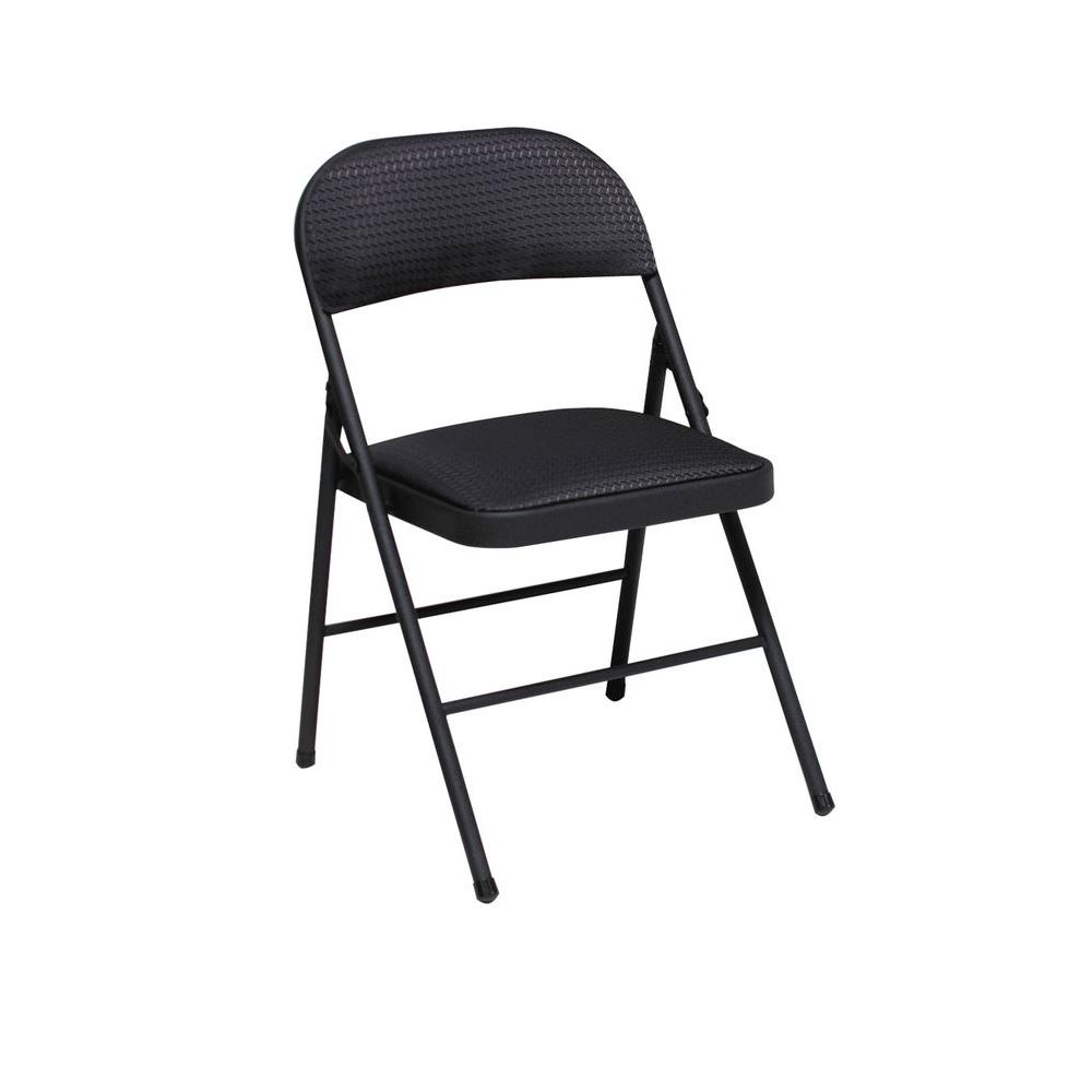 Chairs Folding Cosco Black Fabric Seat And Back Folding Chair 4 Pack