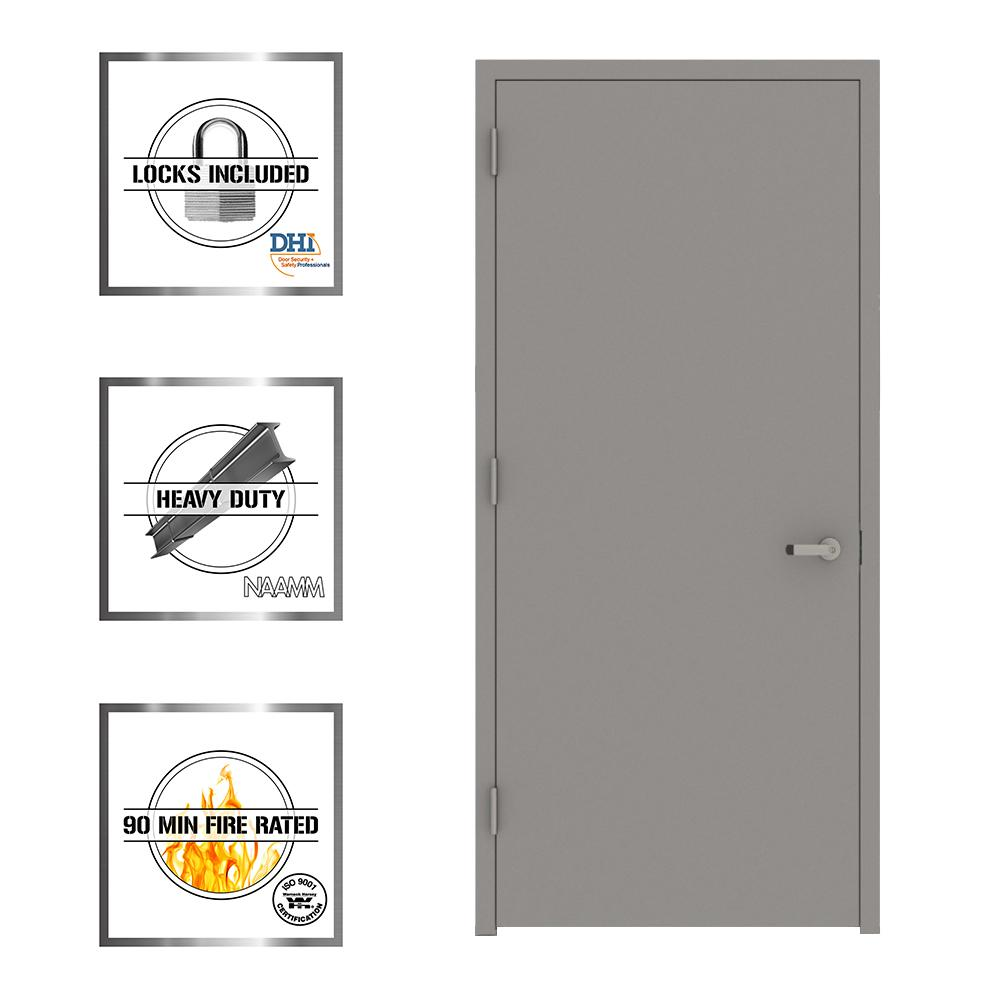 Entrance Doors L I F Industries 36 In X 80 In Gray Flush Right Hand Fire Proof Steel Prehung Commercial Entrance Door With Welded Frame