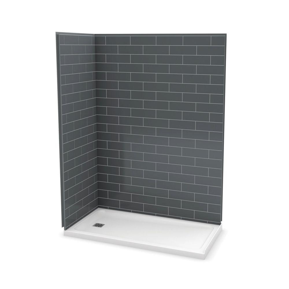 Outdoor Shower Tumblr Maax Utile Metro 32 In X 60 In X 83 5 In Corner Shower Stall In Thunder Grey With Left Drain Base In White