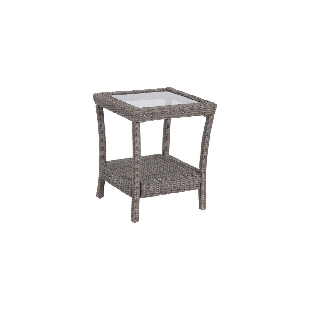 Coffee And Side Tables Home Decorators Collection Naples Grey Square All Weather Wicker Outdoor Side Table With Glass Top